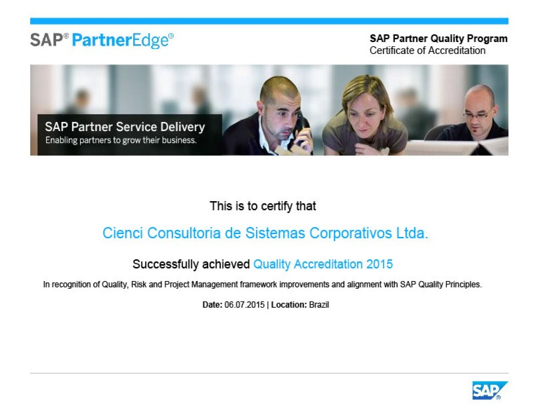 Cienci certificada em Partner Quality Program da SAP