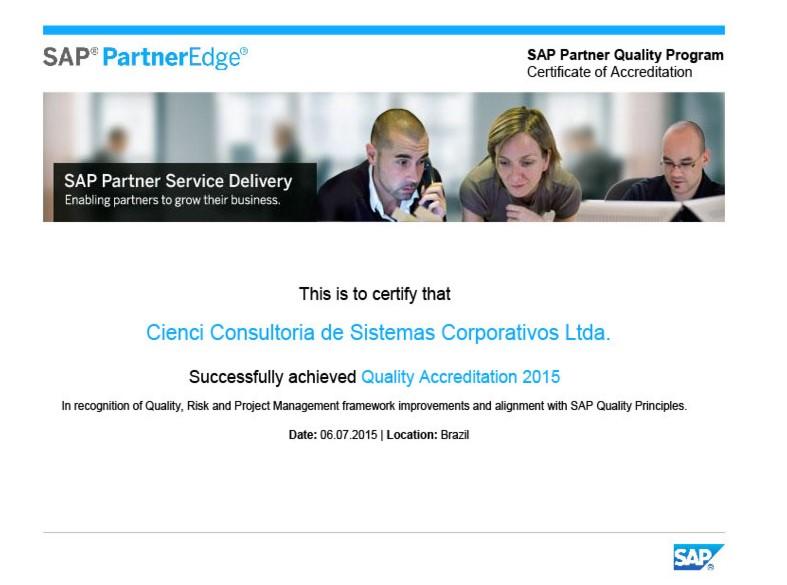 Cienci certificada em Partner Quality Program da SAP